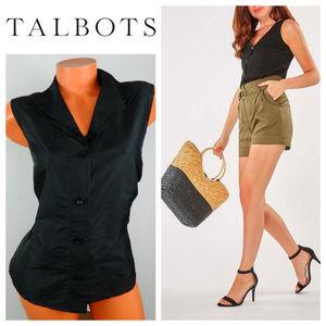 TALBOTS 16 XL 1X Shirt Top Sleeveless Black SILK